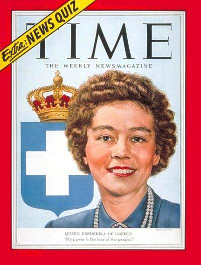 TIME Magazine Cover: Queen Frederika -- Oct. 26, 1953