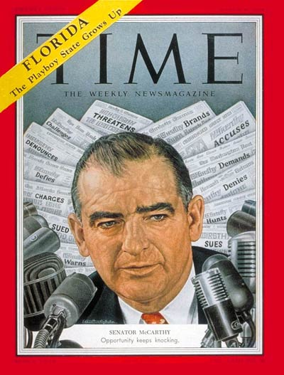 TIME Magazine Cover: Sen. Joseph McCarthy -- Mar. 8, 1954