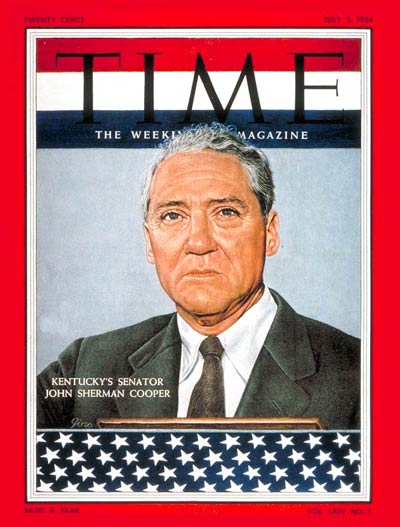 TIME Magazine Cover: Sen. John S. Cooper -- July 5, 1954