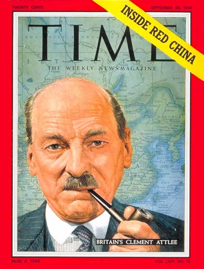 TIME Magazine Cover: Clement Attlee -- Sep. 20, 1954