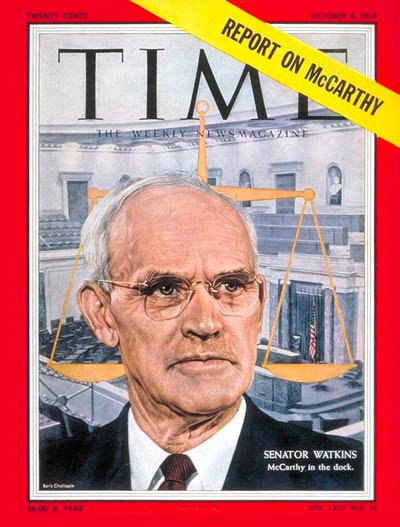 TIME Magazine Cover: Sen. Arthur Watkins -- Oct. 4, 1954