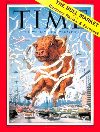 TIME Magazine Cover: Great Bull Market -- Jan. 10, 1955