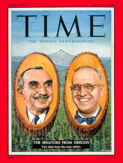 TIME Magazine Cover: Sen. Wayne Morse and Senator Neuberger -- Jan. 17, 1955