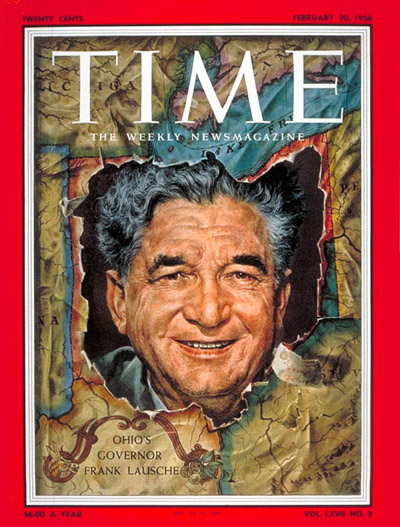 TIME Magazine Cover: Gov. Frank Lausche -- Feb. 20, 1956