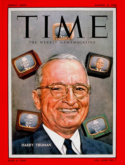 TIME Magazine Cover: Harry Truman -- Aug. 13, 1956