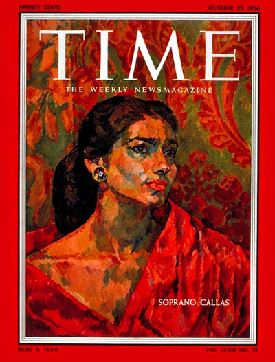 TIME Magazine Cover: Maria Callas -- Oct. 29, 1956