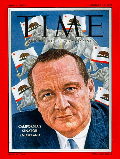 TIME Magazine Cover: Sen. William Knowland -- Jan. 14, 1957