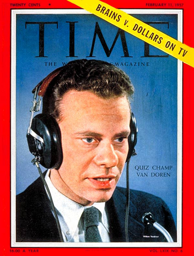 Quiz show wiz Charles Van Doren wearing headphones prior to news of scandal