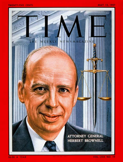TIME Magazine Cover: Herbert Brownell Jr. -- May 13, 1957
