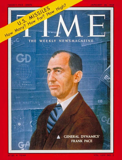 TIME Magazine Cover: Frank Pace Jr. -- Jan. 20, 1958