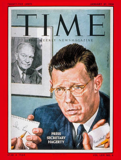 TIME Magazine Cover: James Hagerty -- Jan. 27, 1958