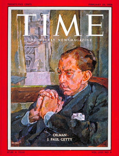 TIME Magazine Cover: J. Paul Getty -- Feb. 24, 1958
