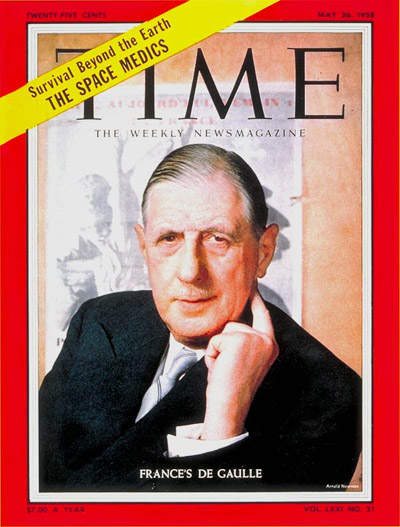 TIME Magazine Cover: Charles DeGaulle -- May 26, 1958