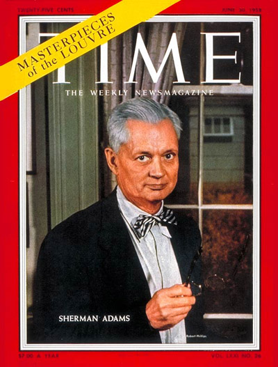 TIME Magazine Cover: Sherman Adams -- June 30, 1958