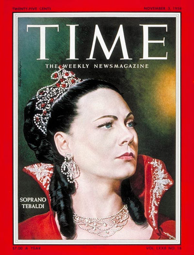 TIME Magazine Cover: Renata Tebaldi -- Nov. 3, 1958