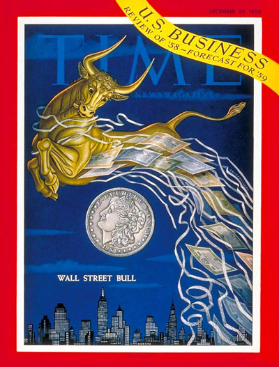 TIME Magazine Cover: Wall Street Bull -- Dec. 29, 1958