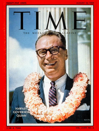TIME Magazine Cover: Gov. William Quinn -- Aug. 10, 1959