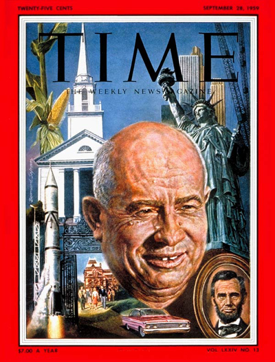 Peasant face of Nikita Khrushchev, looming against a symbolic background of the U.S.:  tall Iowa corn; a New England church; buildings under construction; an Army Redstone missile; a gate at Brown University; a new automobile; Abraham Lincoln.