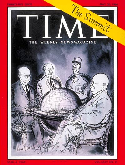 The Big Four: Dwight Eisenhower, Harold Macmillan, Charles de Gaulle, Nikita Khrushchev.