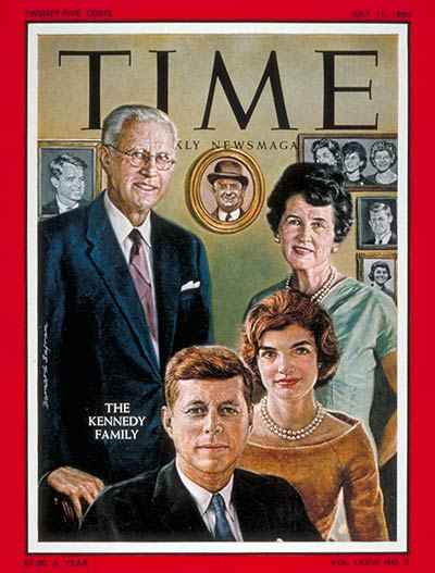 Joseph P. Kennedy Sr. his wife Rose, Jacqueline Kennedy & her husband, Presidential candidate Sen. John F. Kennedy Jr.