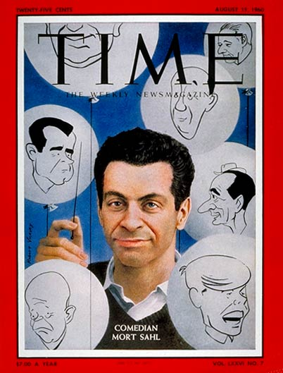 Comedian Mort Sahl surrounded by caricatures of other famous comics