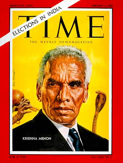 TIME Magazine Cover: Krishna Menon -- Feb. 2, 1962