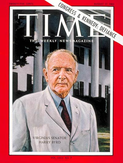 TIME Magazine Cover: Sen. Harry F. Byrd -- Aug. 17, 1962