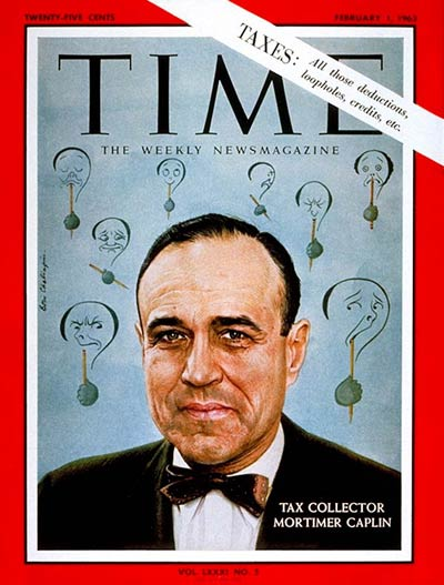 TIME Magazine Cover: Mortimer M. Caplin -- Feb. 1, 1963