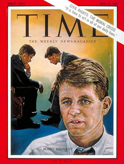 Illustration of Robert F. Kennedy alone and confering with brother, President John F. Kennedy.