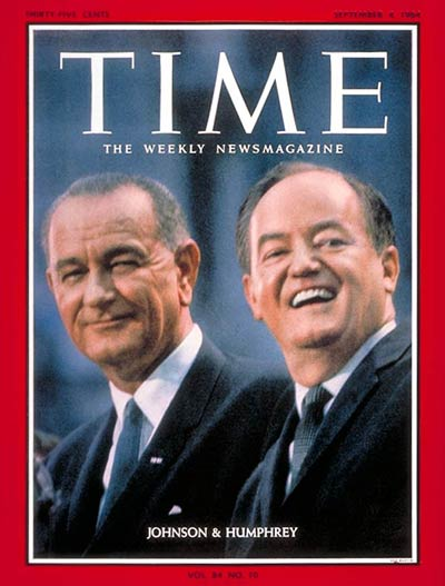 Democratic running mates Lyndon B. Johnson and Hubert H. Humphrey.