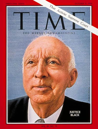 TIME Magazine Cover: Hugo Black -- Oct. 9, 1964