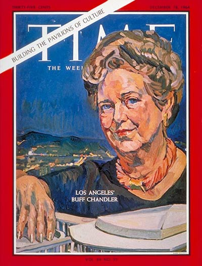 Wife of Norman Chandler, owner of the Los Angeles Times.  Founded and raised funds for Los Angeles' new Music Center for the Performing Arts