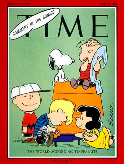 Charles Schulz's comic strip Peanuts with Charlie Brown, Snoopy, Linus, Schroeder and Lucy
