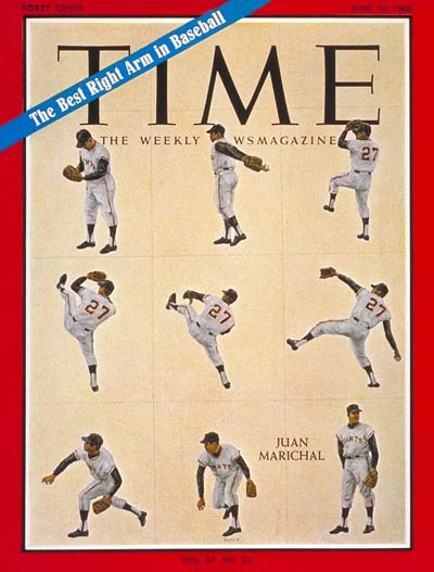 Multiple images of baseball pitcher Juan Marichal.