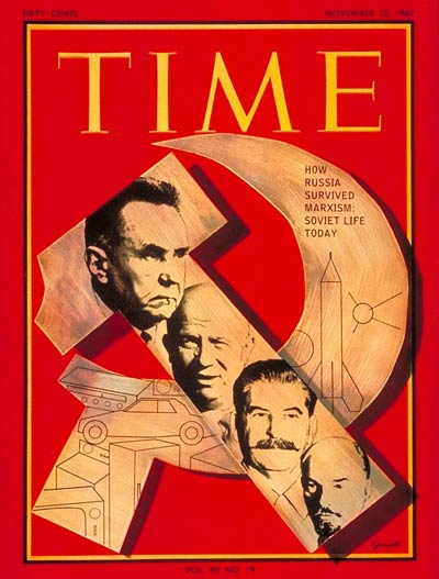 TIME Magazine Cover: Kosygin, Khrushchev, Stalin and Lenin -- Nov. 10, 1967