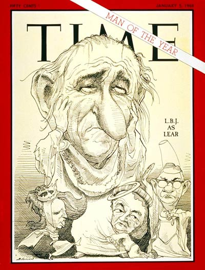 Caricature of Lyndon B. Johnson as Shakespeare's King Lear