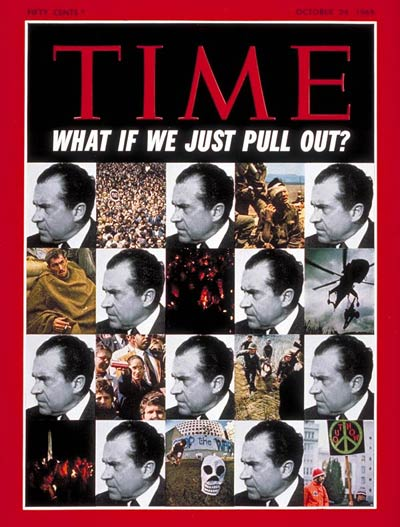 President Richard Nixon and scenes from both Vietnam & the U.S. during the Vietnam War.