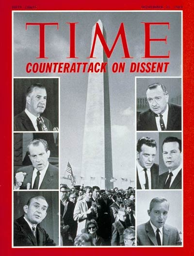 (L, top-bottom) Agnew, Nixon and Burch (Center) Pro-Administration demonstrators in Washington (R, top-bottom) Cronkite, Huntley, Brinkley and Reynolds