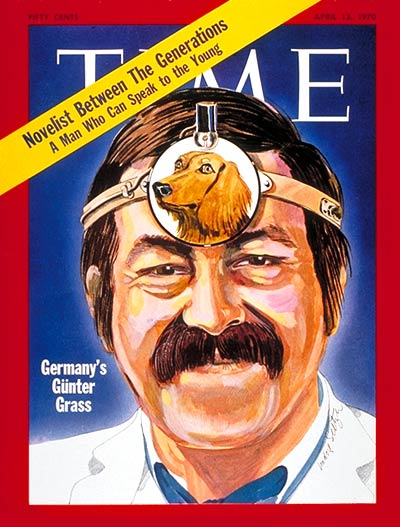 West German novelist Grass, author of 'Local Anaesthetic,'  depicted as a dentist