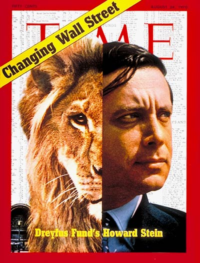Dreyfus Mutual Fund's Howard Stein; collage with a lion by Dennis Wheeler