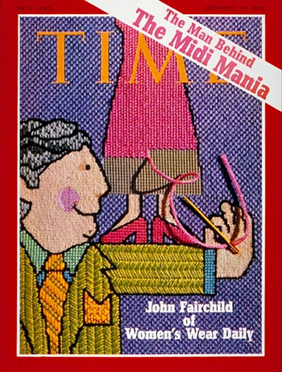 Women's Wear Daily editor John Fairchild done in needlepoint by Judy McGuggart.