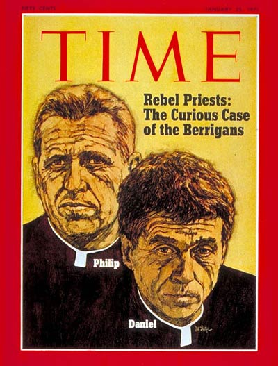 antiwar protestor priests Philip and Daniel Berrigan.