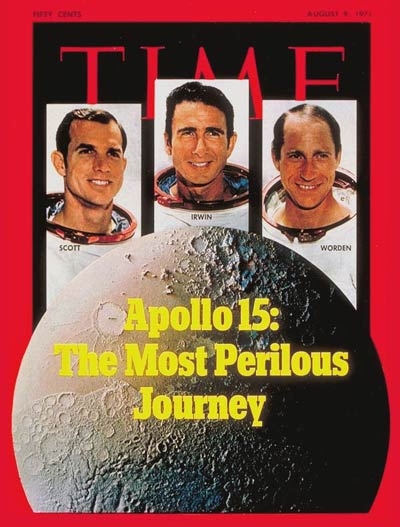 Apollo 15 astronauts David Scott, James Irwin and Al Worden. Design by Dennis Wheeler