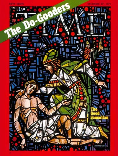 Stained glass depiction by Leandro Velasco of the parable of the Good Samaritan