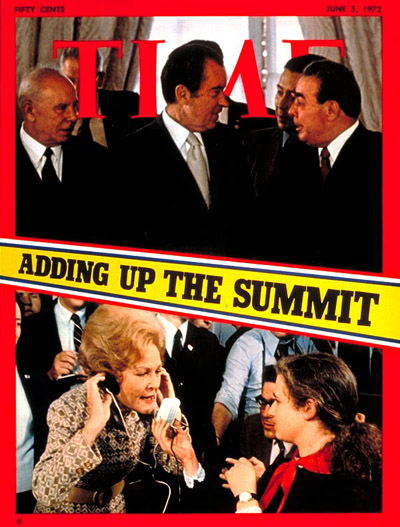 On cover (Top L-R) Soviet president Podgorny, Nixon and Brezhnev (Bottom) Pat Nixon talking w/ Russian reporters