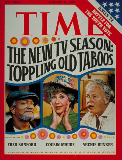 Left to right: Redd Foxx as Fred Sanford, Bea Arthur as Cousin Maude and Carroll O'Connor as Archie Bunker. Design by Norman Gorbaty