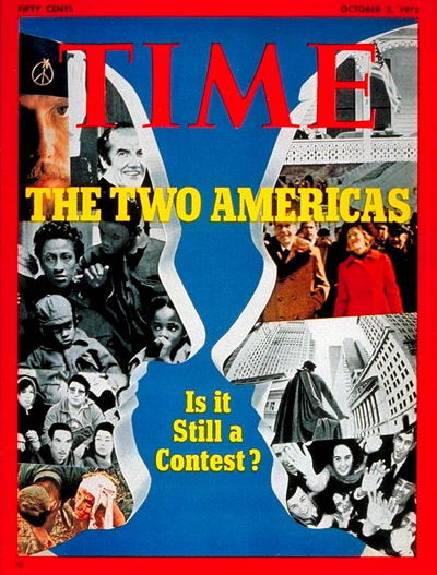 TIME Magazine Cover: Nixon and McGovern -- Oct. 2, 1972
