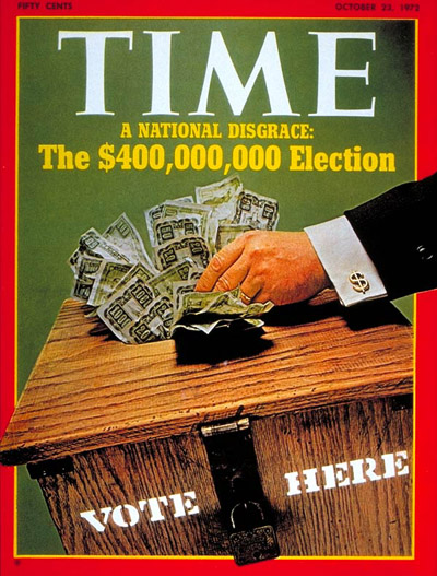 TIME Magazine Cover: Campaign Financing -- Oct. 23, 1972