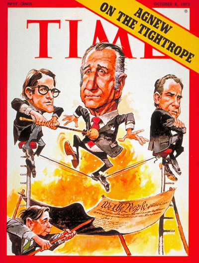 Spiro Agnew on a tightrope.