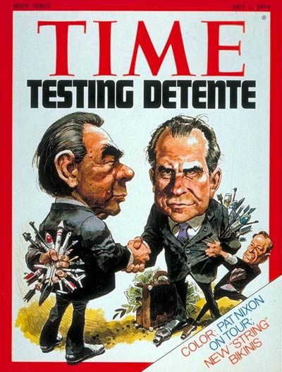Richard Nixon and Leonid Brezhnev meet about detente and nuclear arms control.